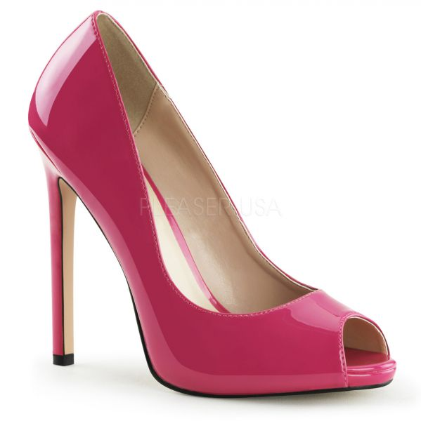 SEXY-42 hot pink Lack     Peep Toe Stiletto High-Heels mit kleinem eingearbeiteten Plateau in hot pink Lack